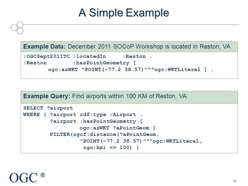 A Simple Example :OGCSept2011TC :locatedIn :Reston . :Reston :hasPointGeometry [ ogc:asWKT POINT(-77.2 38.57) ^^ogc:WKTLiteral ] .